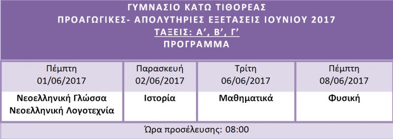 Προγραμμα εξετασεων